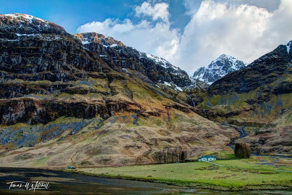 limited edition, museum grade, fine art, prints, glen coe, scotland, cottage, river coe, scottish, snow capped, mountains, cloudy, sky, waterfall, photograph