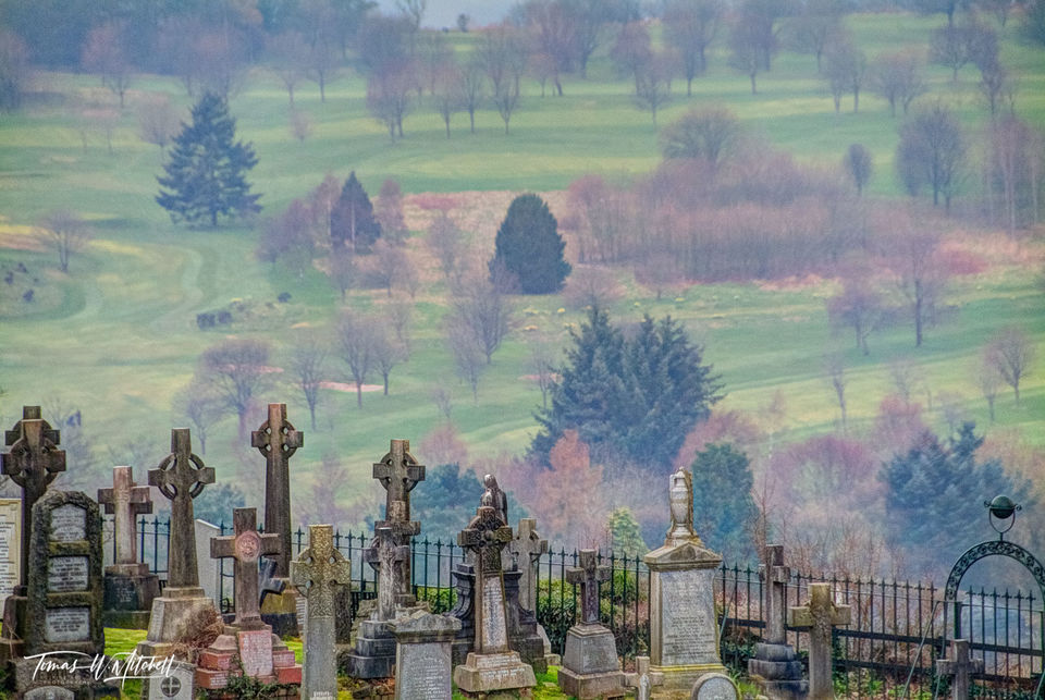 limited edition, fine art, prints, stirling, scotland, castle, cemetery, old town, church, holy rude, pastel, colors, photograph, field, sheep, celtic crosses