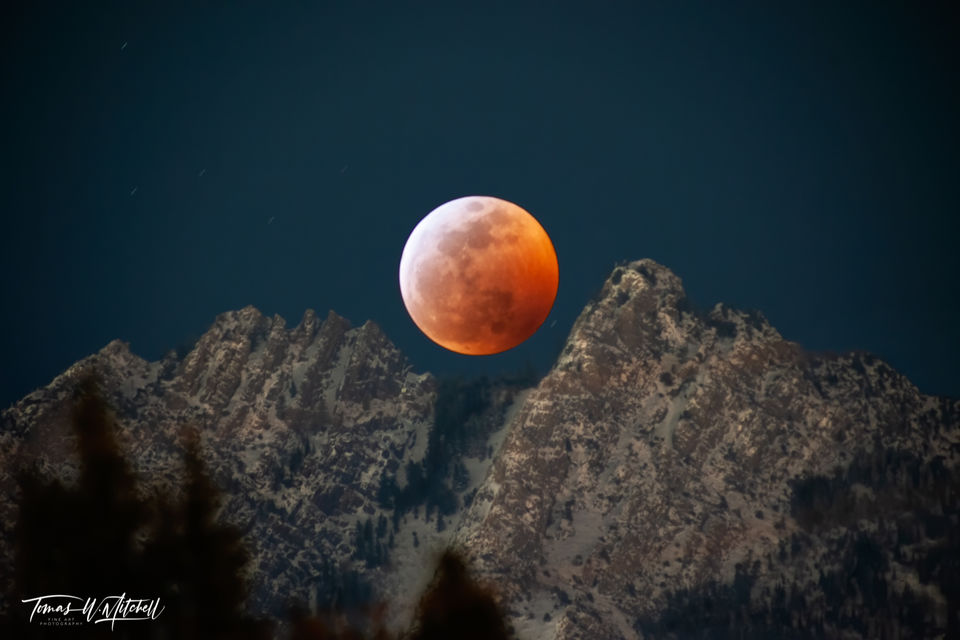 limited edition, fine art, prints, mount olympus, utah, lunar eclipse, super blood wolf moon, compilation, latin, mountain
