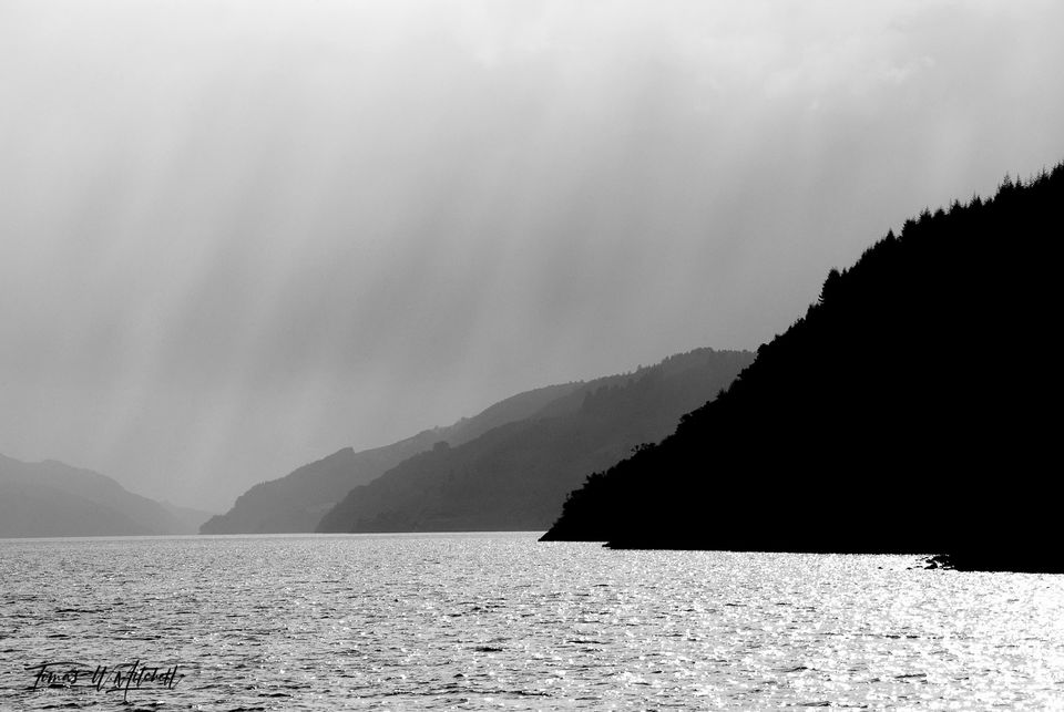 limited edition, fine art, prints, loch ness, scotland, boat ride, sun, clouds, black and white, nessie, shades, gray