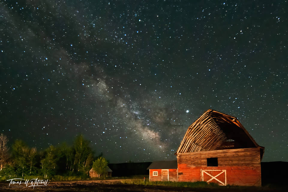 limited edition, fine art, prints, woodland utah, milky way, old barns, galaxy, barn