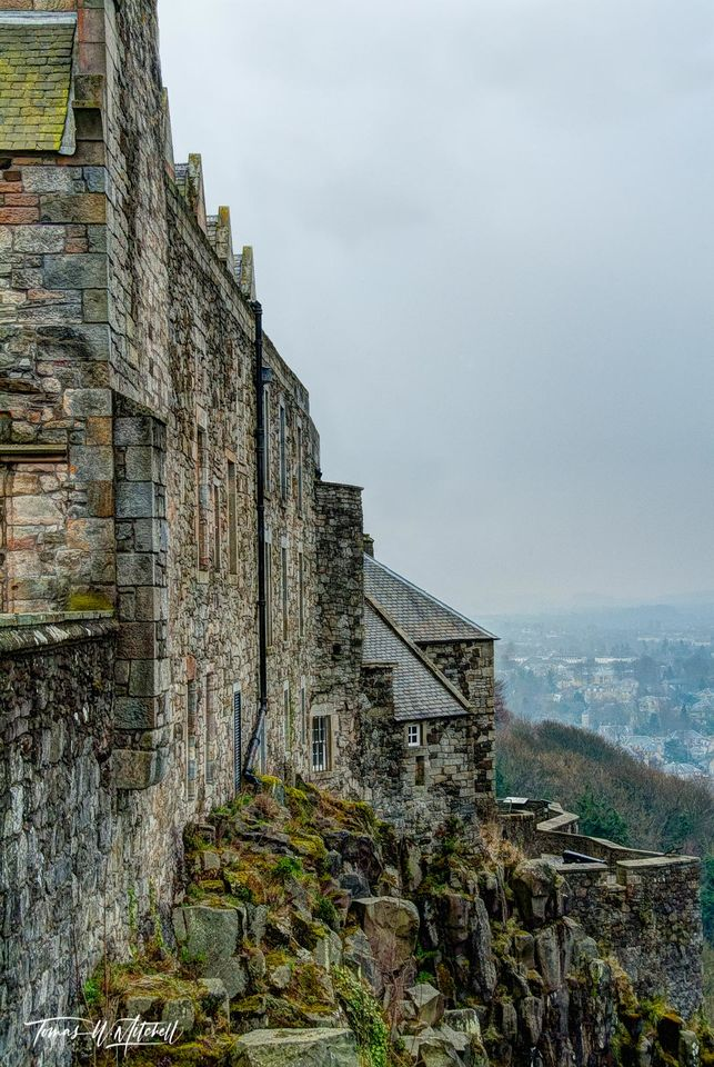 limited edition, museum grade, fine art, prints, stirling castle, scotland, castle, gloomy, hazy, walls, windows, angles, wall, gloom, mood, photograph, rocks, grass, moss, rock, town