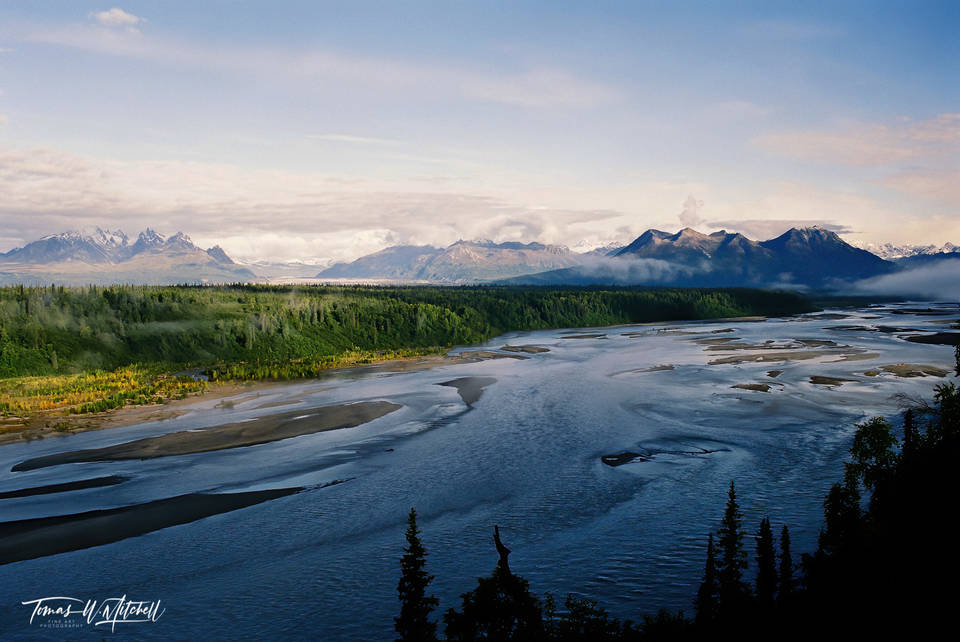 limited edition, fine art, prints, photograph, film, Alaska, susitna river, river, denali, nikon, mountain, clouds, scenic, anchorage,