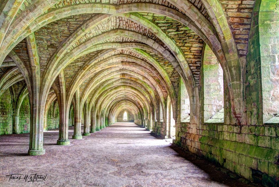 limited edition, museum grade, fine art, prints, fountains abbey, england, cellarium, green, stonework, vaulted arches, abbey, photograph, color, rock, moss, fantasy