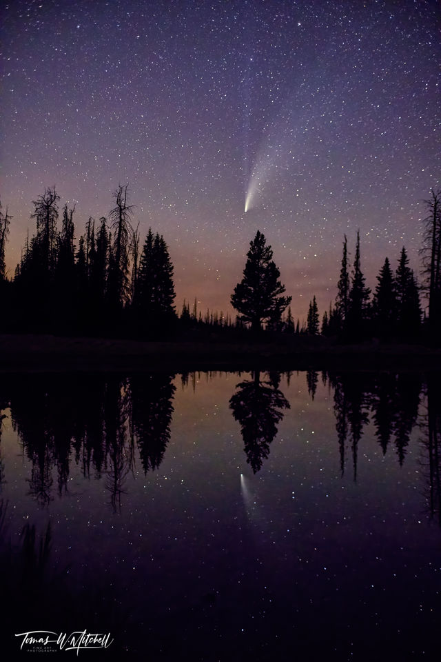 limited edition, fine art, prints, night sky, comet neowise, uinta mountains, psalm 19:1, heavens, god, bible, photograph, reflection, pond, trees, mirror lake