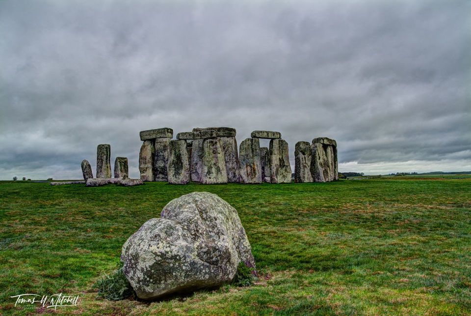 Stonehenge, England, ancient, fine art, museum grade, limited edition, photographing, overcast, rain, gloomy, clouds, green, grass, stones, mystic, mood