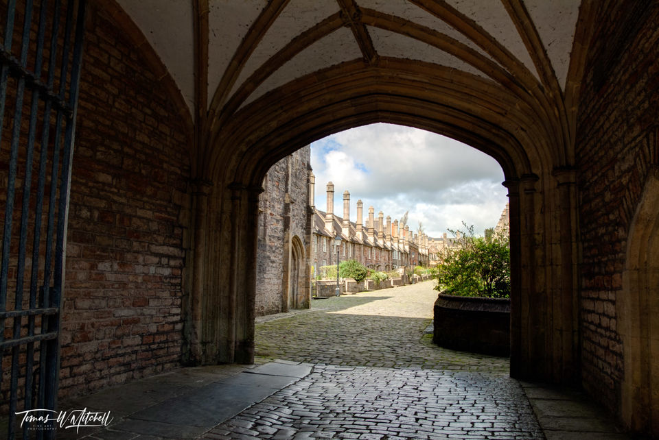 limited edition, museum grade, fine art, prints, photograph, vicars' close, wells, england, arch, gate, lierne vault, ceiling, brick, cobblestone
