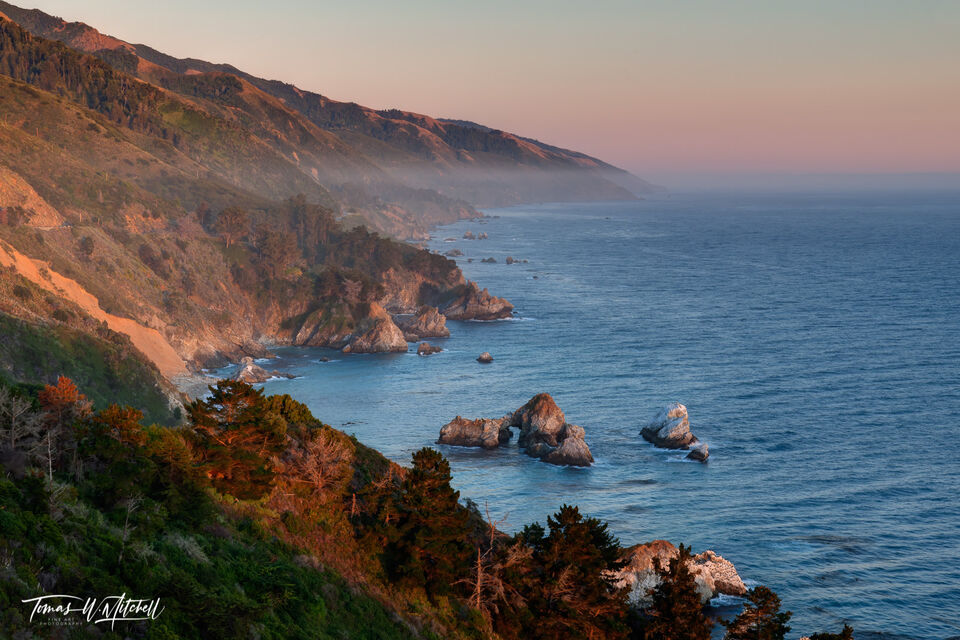 big sur, california, limited edition, fine art prints, vista point, julia pfeiffer burns state park, highway 1, coastline, photograph, setting sun, shoreline