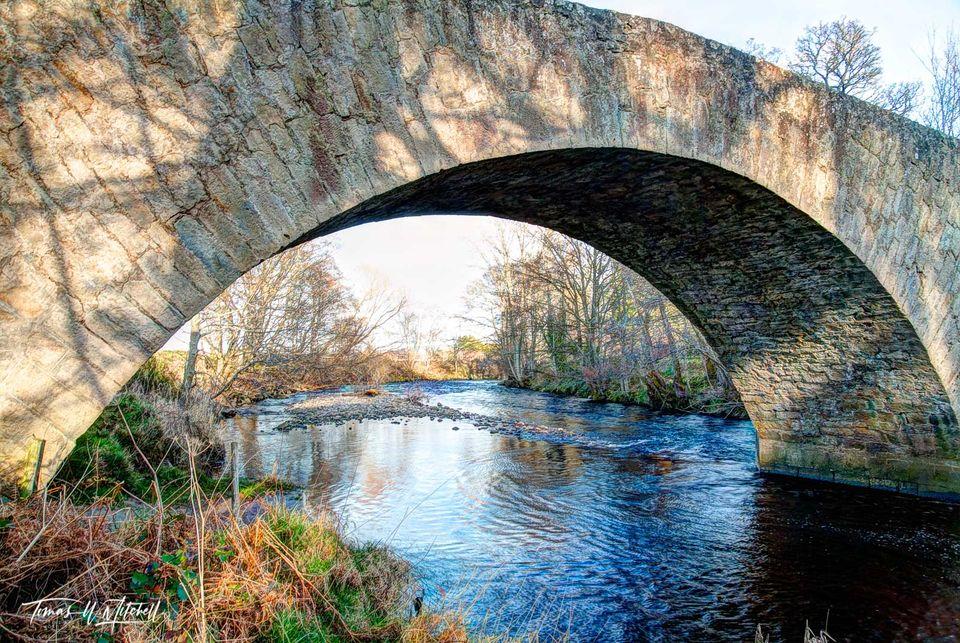 limited edition, museum grade, fine art, prints, river nairn, cawdor, scotland, general wade, 1700's, military road, british, highlands, jacobite, bridge, evening light, warm, shadows, trees, stone