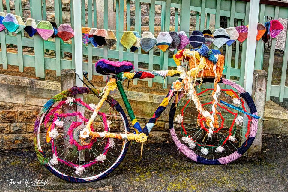 bike, bicycle, yarnbombed, England, Cotswolds, color, limited edition, museum grade, fine art, prints, photograph