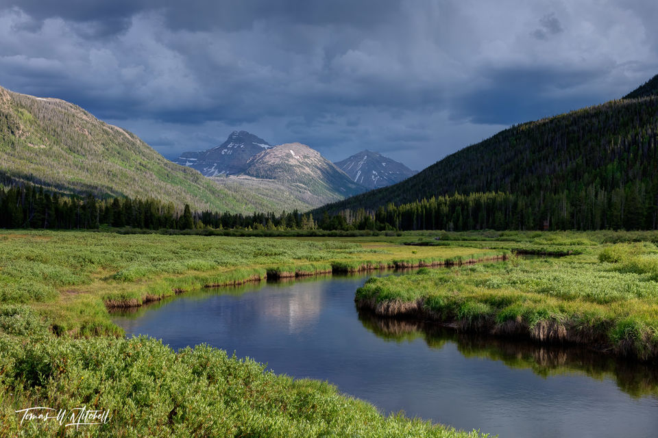 limited edition, fine art, prints, uinta wasatch cache national forest, utah, christmas meadows, mountains, storm clouds, photograph, river