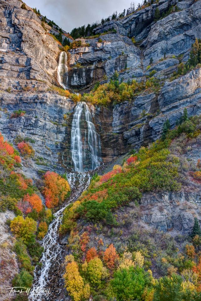 limited edition, museum grade, fine art, prints, water fall, bridal veil falls, utah, autumn colors, red, yellow, maple trees, sunlight, water, photograph, canyon