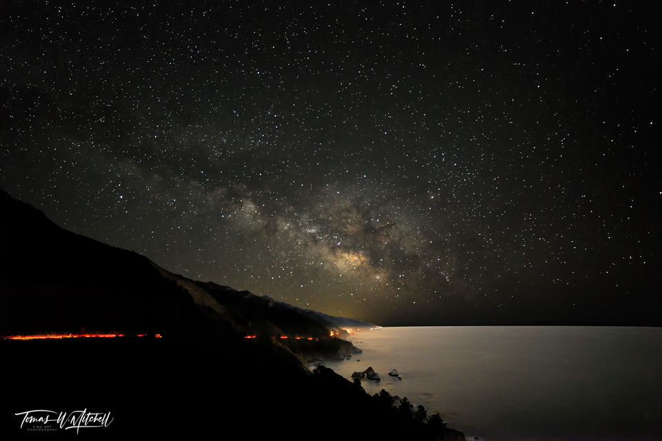 limited edition, fine art, prints, monterey, california, big sur,  milky way, photography, night, coastline, vista point, julia pfeiffer burns state park, waves, galaxy, mountains, photograph