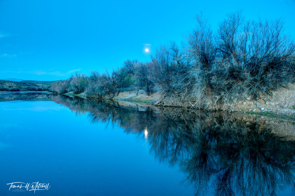 limited edition, fine art, prints, blue moon, salt river, arizona, photograph, blue hour, riverbank, reflection, water, sky