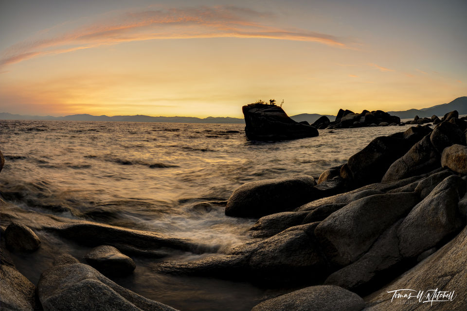 limited edition, fine art, photograph, bonsai rock, lake tahoe, nevada, trees, sunset, clouds, fisheye view