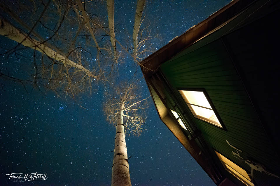 limited edition, fine art, prints, cabin, oakley, utah, photograph, night sky, quaking aspen, trees, blue, pleiades, winter