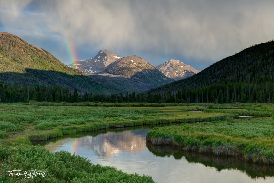 limited edition, fine art, prints, uinta wasatch cache nationla forest, utah, summer, storm, rainbow, river, photograph, evening, mountains, clouds, sunset, reflection