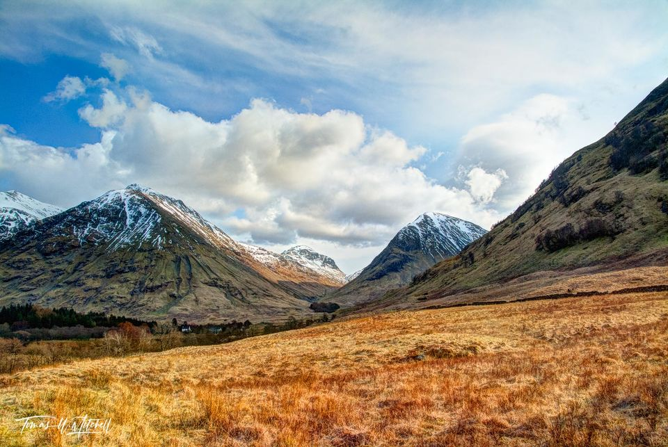 limited edition, museum grade, fine art, prints, glen coe, scotland, clouds, sky, warm glow, fields of gold, march, mood, magical, village