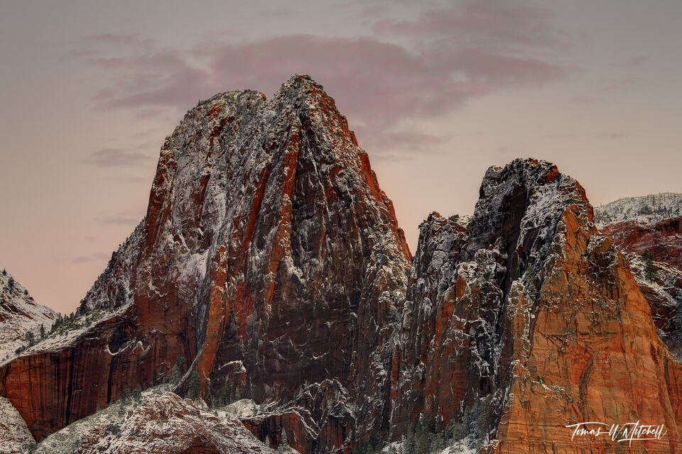 limited edition, fine art prints, zion national park, utah, snowstorm, red rock, photography,  Kolob canyons, photograph, sunset