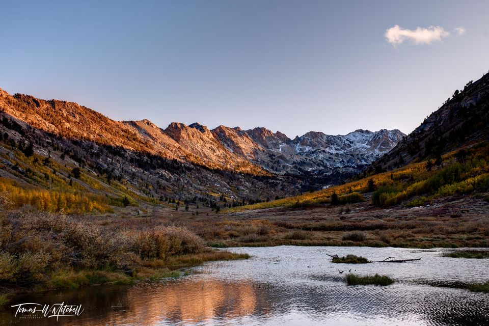 limited edition, museum grade, lamoille canyon, nevada, happy cloud, fall colors, snow, peaks, sky, mountains, water, photograph, aspen trees, bob ross