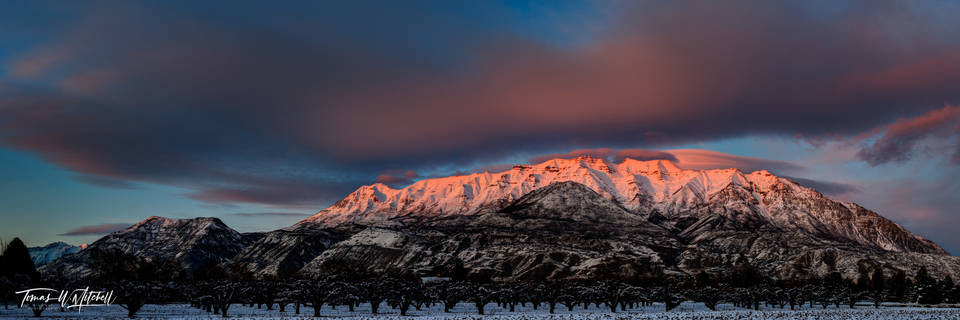 limited edition, fine art, prints, mount timpanogos, utah, timp, mountain, winter, sky, red, sunset, cloud, photograph