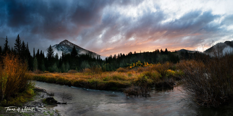 limited edition, fine art, prints, kessler peak, utah, big cottonwood canyon, storm, fall, photograph, clouds, sunset, sky, willows, grass, quaking aspens, water