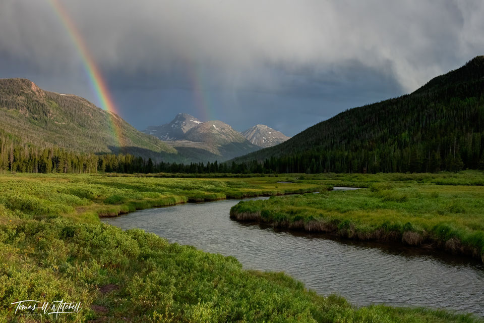 limited edition, fine art, prints, uinta wasatch cache national forest, summer storm, river, rainbow, mountains, clouds, christmas meadows, utah