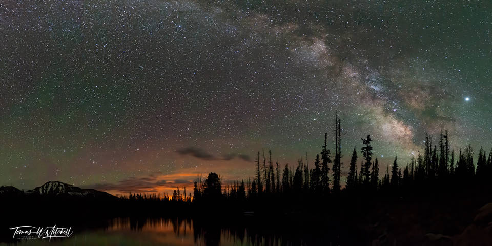limited edition, fine art, prints, uinta mountains, utah, pass lake, milky way galaxy, panoramic, mountains,