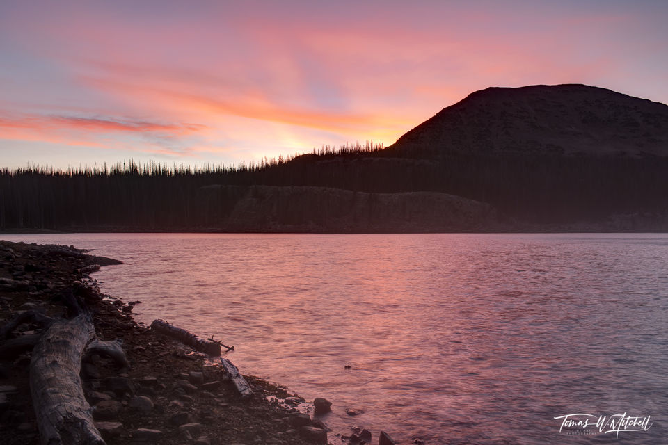 limited edition, fine art prints, clyde lake, wall lake, Uinta Mountains, UTAH, sunset, photograph, color, mount watson, lakes