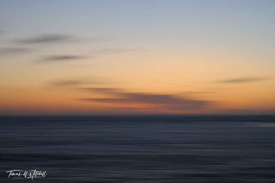 big sur, california, blue, dusk, painted, sunset, photographs, limited edition, fine art, prints, abstract, ocean, waves