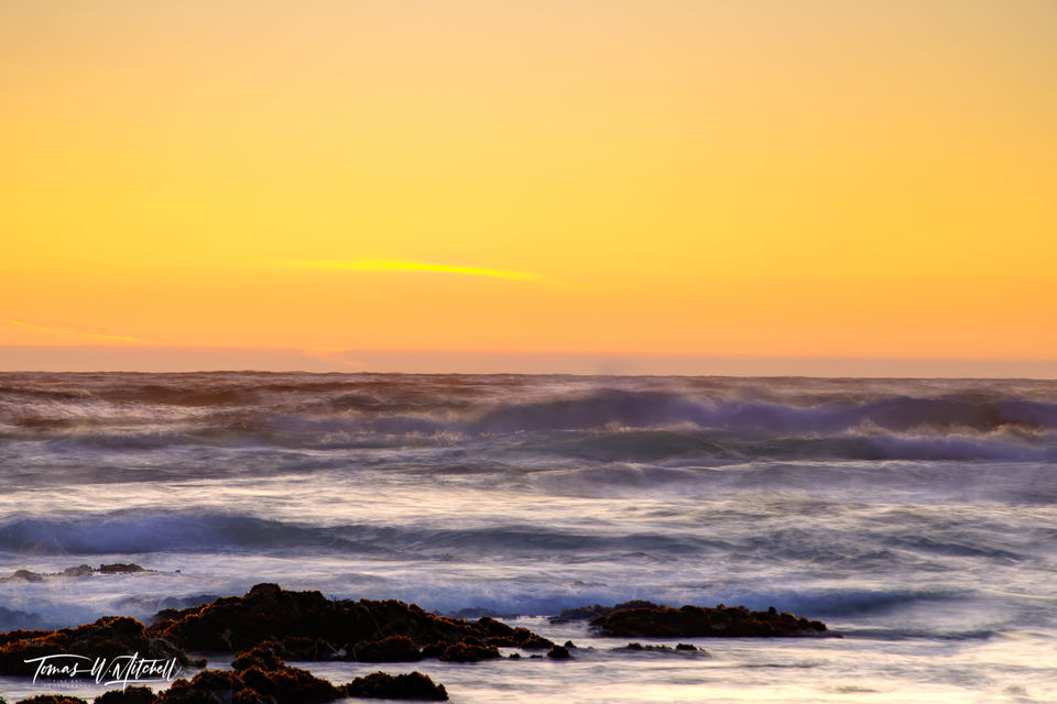 limited edition, fine art, prints, photograph, pacific grove, california, sunset, abstract, waves, ocean, yellow,