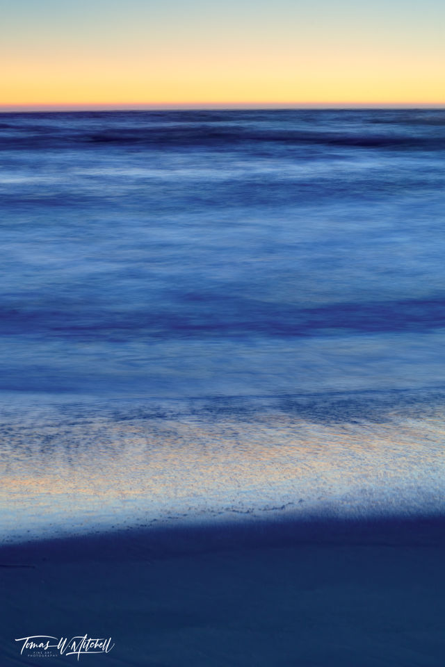 limited edition, fine art, prints, sunset, pacific grove, california, cobalt, tide, photograph, vertical, sand, beach, sky, wave, ocean, yellow, sky, abstract