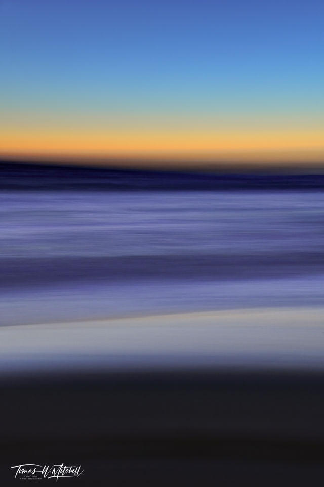 limited edition, fine art, prints, moody blues, photograph, pacific grove, california, sunset, abstract, ICM, photography, yellow, blue, ocean