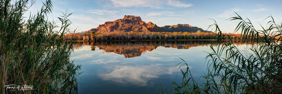 limited edition, fine art, prints, salt river, arizona, USA, red mountain, reflection, panoramic, reeds, clouds, blue sky, water, desert, photograph