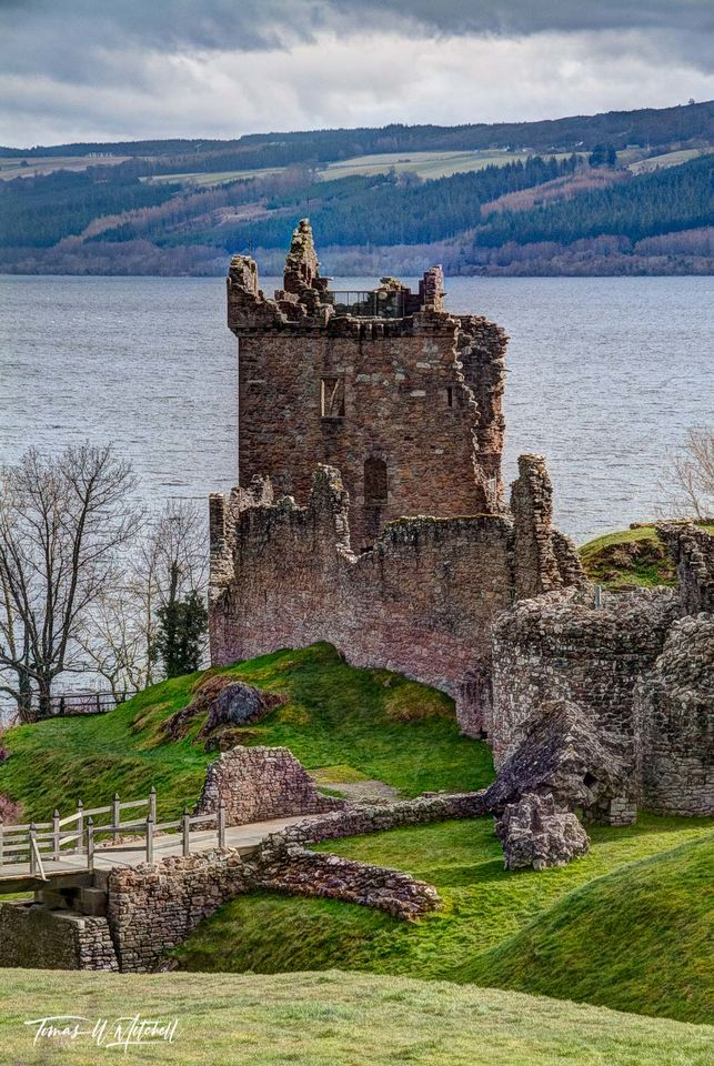 limited edition, fine art, prints urquhart, castle, loch ness, scotland, fortress, highlands, rock, loch, photograph, green, grass, cloudy, sky, bridge, path, rocks, waves, water