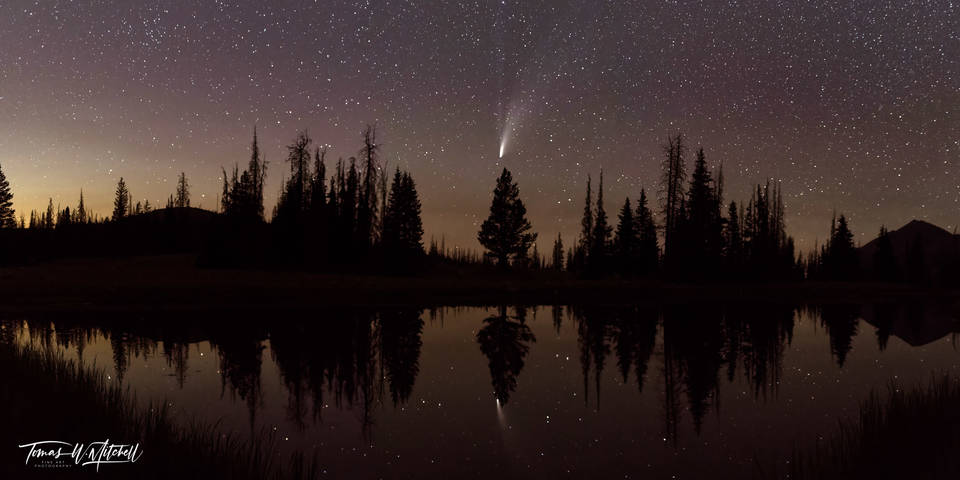 limited edition, fine art, prints, night sky, comet neowise, uinta wasatch cache national forest, shooting stars, mountains, reflection, trees,  royce bair, nightscape, panoramic