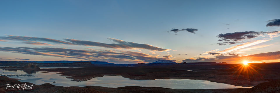 limited edition, wahweap, lake powell, sunrise, photographing, sky, sun, horizon, color, hue, shadows, sunbeams, yellow, warmth
