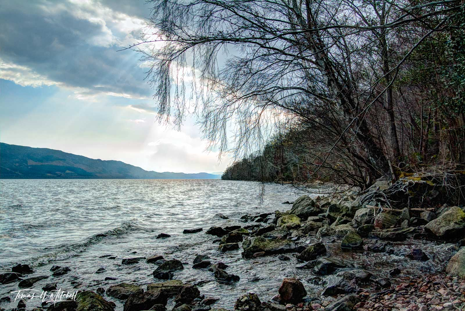 limited edition, fine art, prints, loch ness, scotland, photograph, water, clouds, sun, rays, tones, grays, blues, green, rocks, wave, tree, photo