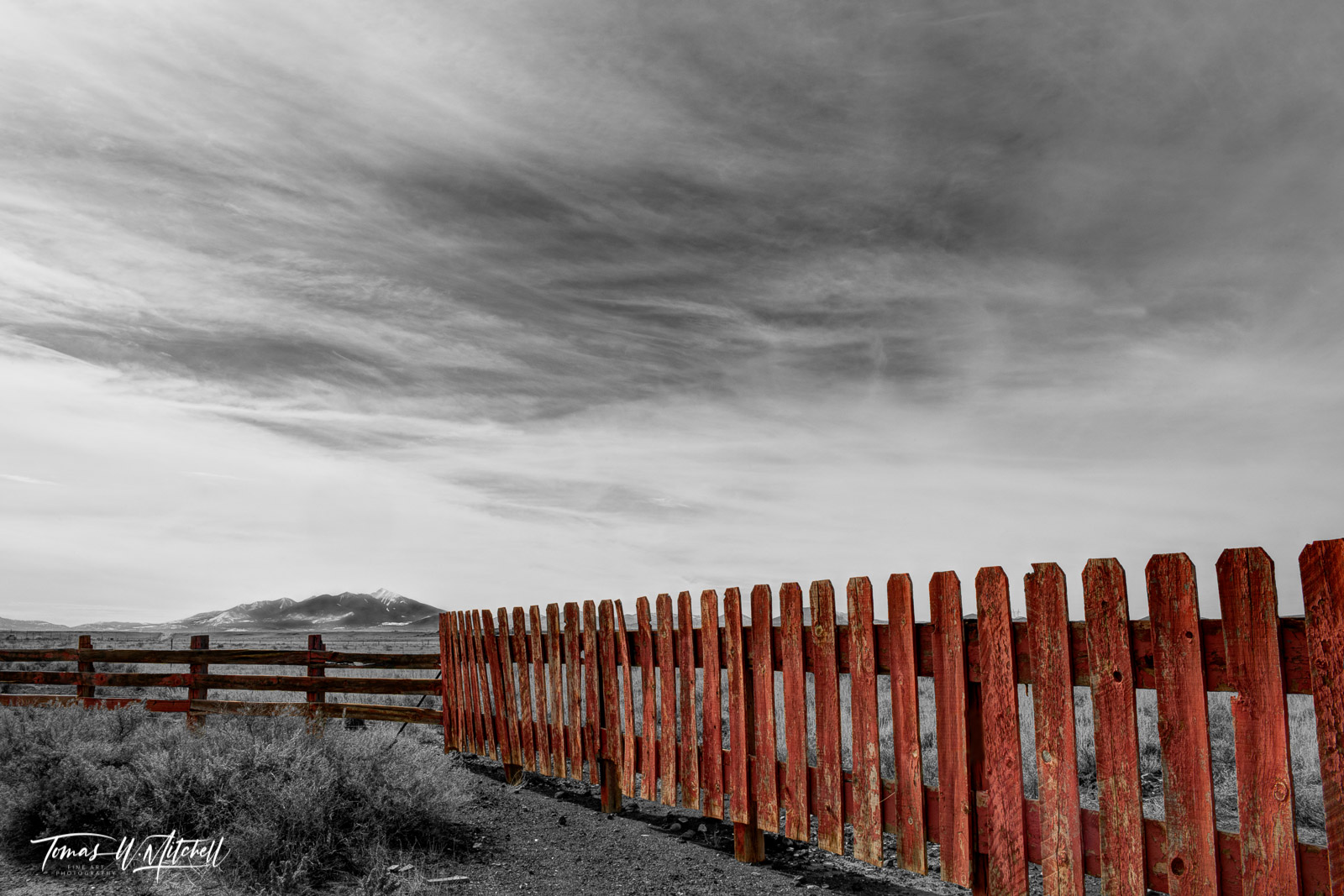 limited edition, fine art, prints, gray mountain, arizona, wauneta trading post, photograph, clouds, soft light, old fence, kachina peaks, rustic, fence, red, peaks, kachinas, color, black and white , photo