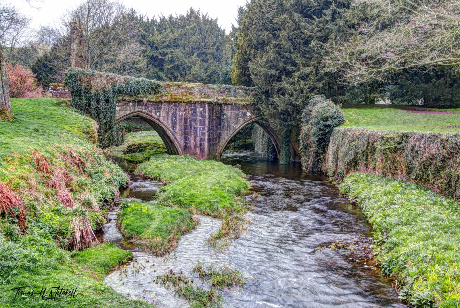 limited edition, museum grade, fine art, prints, bridge, river skell, fountains abbey, england, studley royal park, photograph, spring, green, colors, overcast, photo