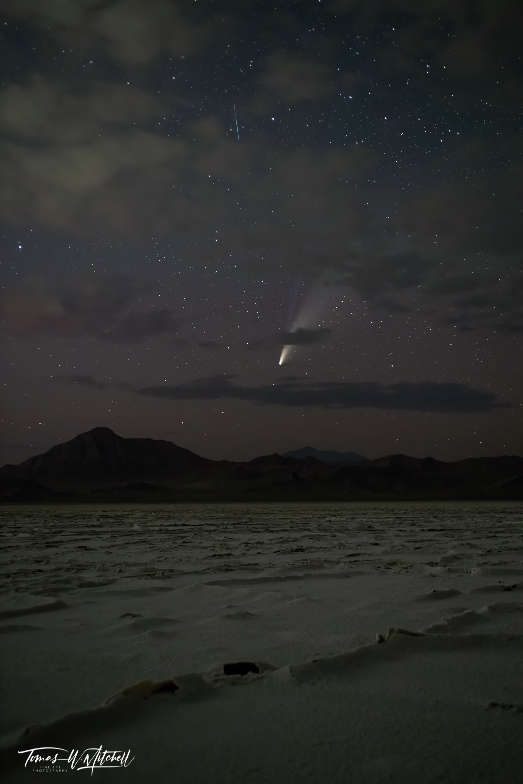 limited edition, fine art, prints, stars, night sky, clouds, comet neowise, bonneville salt flats, utah, desert,  mountains, photograph, celestis, photo