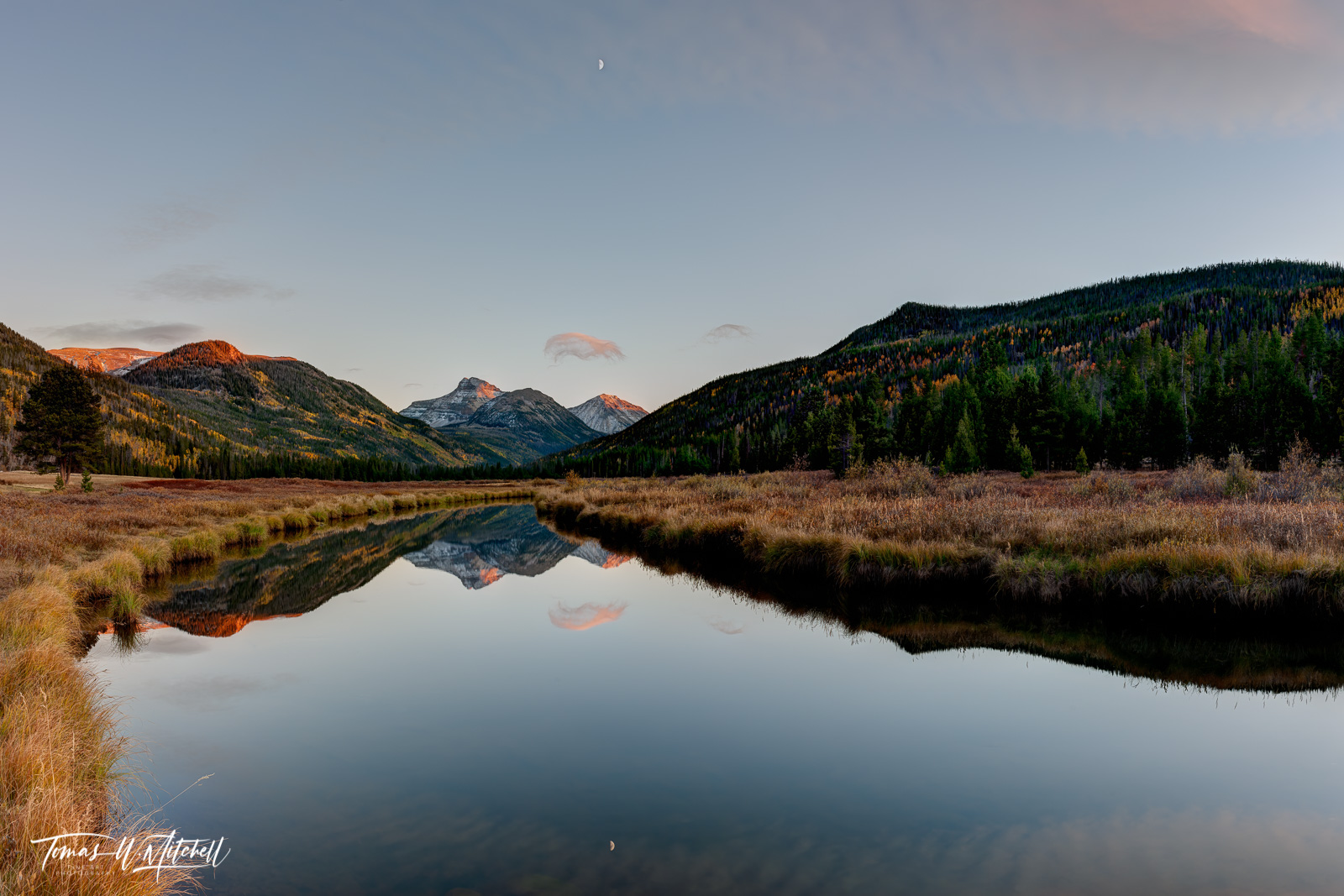limited edition, museum grade, fine art, prints, christmas meadows, utah, national forest, peaks, clouds, mountains, half moon, reflection, river, photograph, autumn, photo