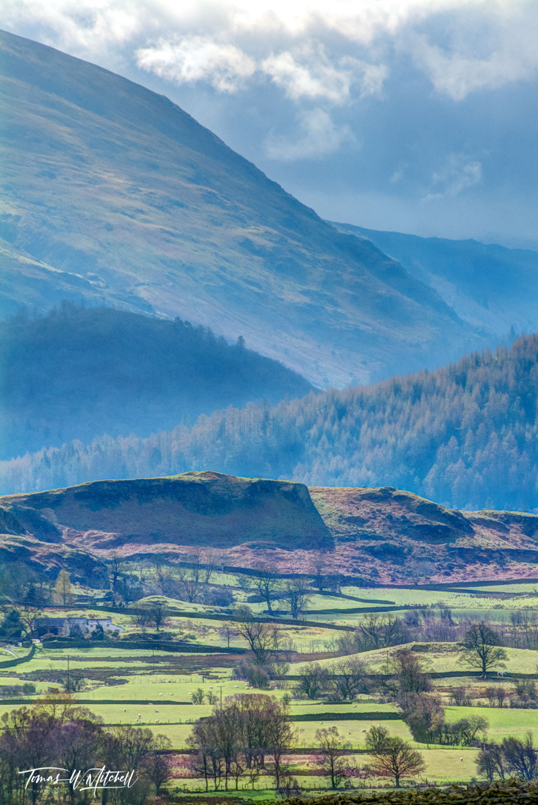 limited edition, museum grade, fine art, prints, photograph, keswick, cumbria, lake district, england, mountains, layers, fields, rock walls, hills, sky, green, springtime, english, trees, valleys, photo