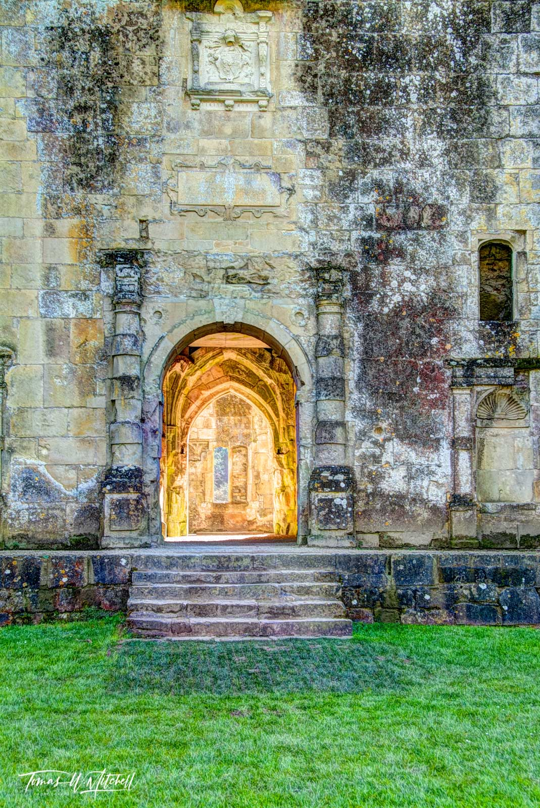limited edition, museum grade, fine art, prints, photograph, old, wardour castle, england, doorway, robin hood, prince of thieves, castle, sun, photo