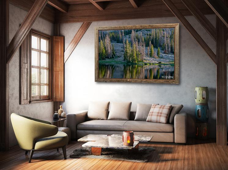 Booker Lake photograph framed in room