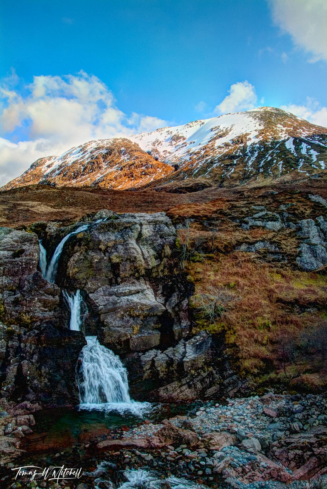 limited edition, museum grade, fine art, prints, glen coe, scotland, meeting of the three waters, waterfall, water, snow capped, mountaintop, blue sky, clouds, landscape, photographs, photo