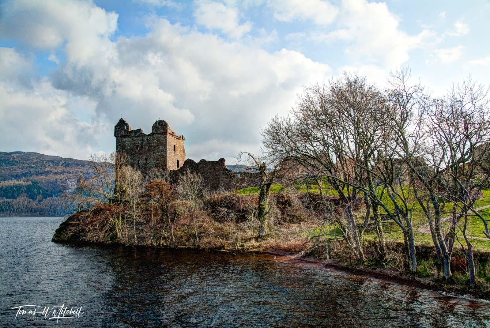 limited edition, museum grade, fine art, prints, loch ness, urquhart castle, jacabite cruise, ship, water, castle, tower, grant tower, trees, spring, cloudy sky, blue, sun, clouds, photograph, photo
