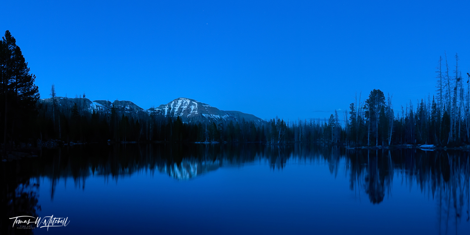 limited edition, fine art, prints, pass lake, utah, uinta mountains, blue hour, moody, lake, mountain, photograph, forest, trees, mount agassiz, snow, photo