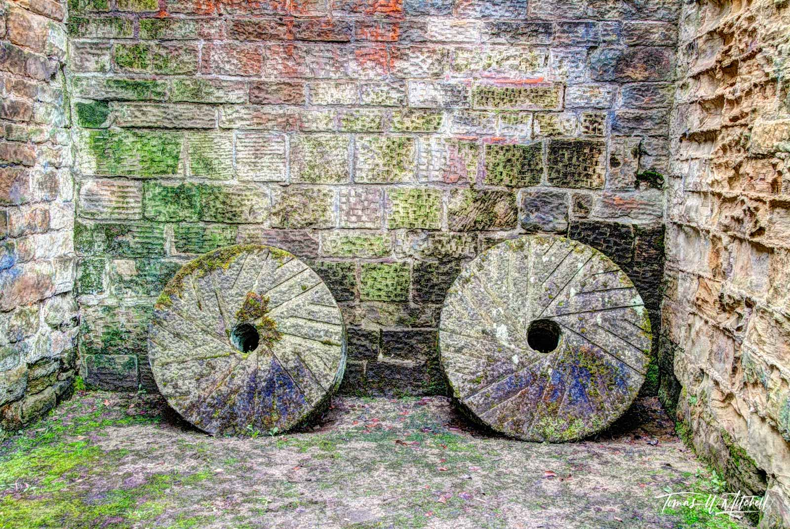 limited edition, museum grade, fine art, prints, old timers, stainsby mill, dirbyshire, england, grinding wheels, color, abstract, old, buildings, mills, rocks, mossy, photo