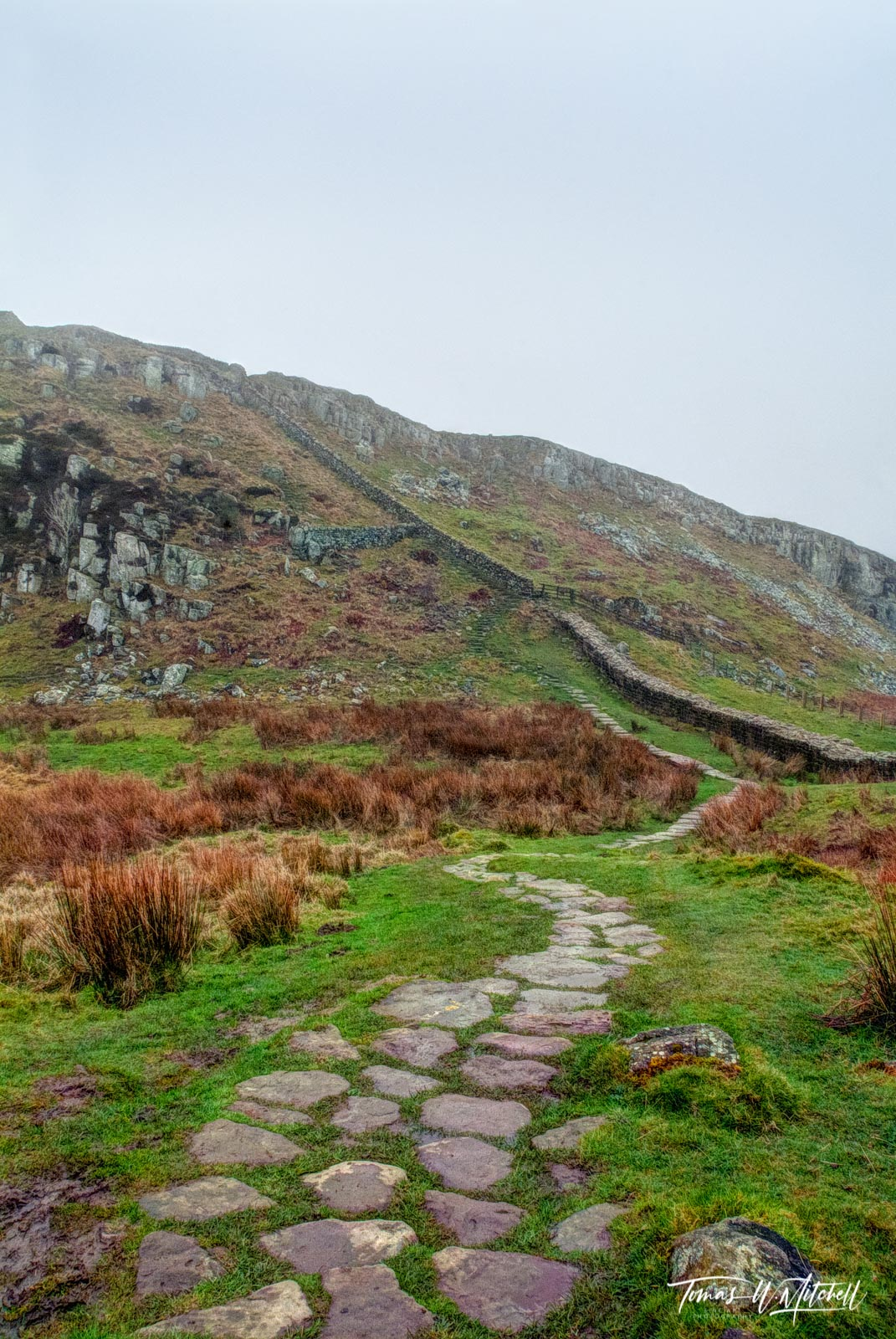 limited edition, gallery quality, prints, photograph, hadrians wall, england, pathway, steel rigg car park, path, wall, ancient, photo